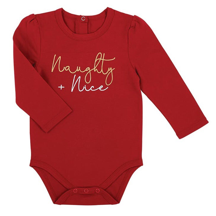 Naughty & Nice Red Long Sleeve Infant Snapshirt