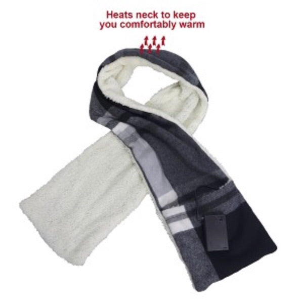 Plaid Heated Scarf w/ Sherpa & Pockets