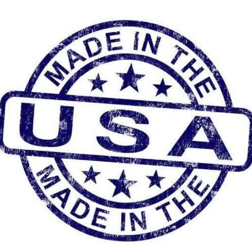 Blue Made in the USA logo on a white background