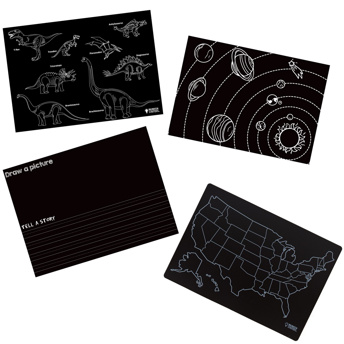Learning Chalkboard Placemats Set of 4