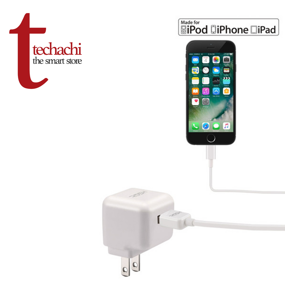 Rush USB Wall Power Adapter & Apple Lightning Data Cable - White