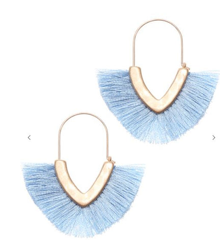 V Shape Fringe Tassel Dangle Drop Earrings
