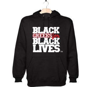 "black 100% organic cotton hooded sweatshirt hoodie ""Black Greeks for Black Lives"" kappa alpha psi paraphernalia apparel"