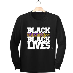 "black 100% organic cotton long sleeve t-shirt ""Black Greeks for Black Lives"" omega psi phi paraphernalia apparel"
