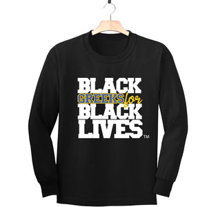 "black 100% organic cotton long sleeve t-shirt ""Black Greeks for Black Lives"" sigma gamma rho paraphernalia apparel"
