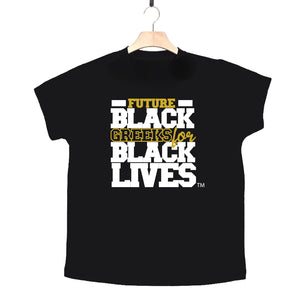 "black 100% organic cotton toddler short sleeve t-shirt ""Future Black Greeks for Black Lives"" future alpha phi alpha paraphernalia apparel"