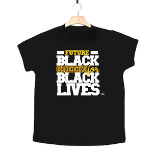 "black 100% organic cotton toddler short sleeve t-shirt ""Future Black Greeks for Black Lives"" future iota phi theta paraphernalia apparel"