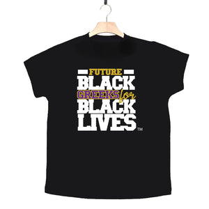 "black 100% organic cotton toddler short sleeve t-shirt ""Future Black Greeks for Black Lives"" future omega psi phi paraphernalia apparel"