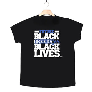 "black 100% organic cotton toddler short sleeve t-shirt ""Future Black Greeks for Black Lives"" future phi beta sigma paraphernalia apparel"