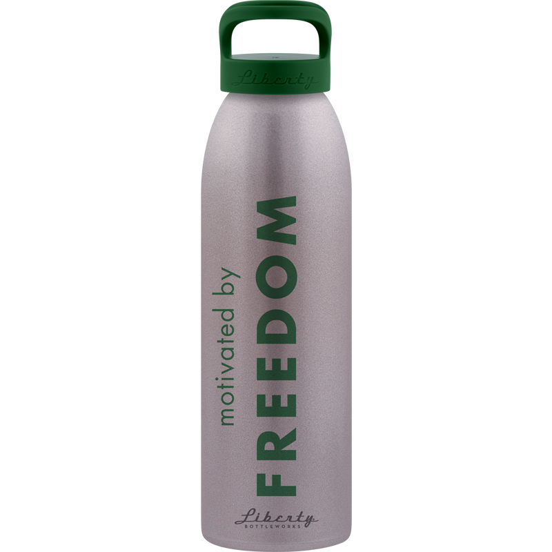 BPA free sustainable water bottle made from 100% recycled aluminum motivated by freedom