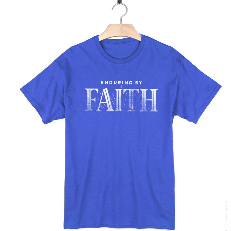 royal blue 100% cotton short sleeve t-shirt enduring by faith