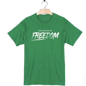 kelly green 100% cotton short sleeve social justice t-shirt motivated by freedom