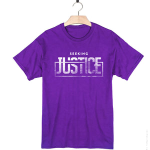 purple 100% cotton short sleeve social justice t-shirt seeking justice