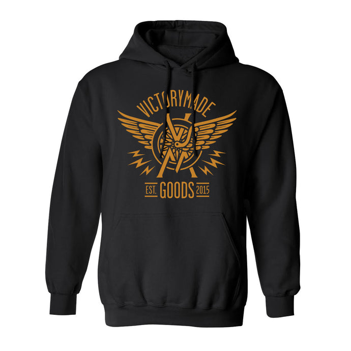 WINGED WHEEL FRONT PRINT HOODIE - BLACK/GOLD