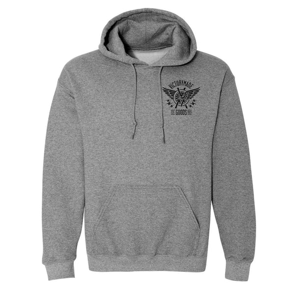 WINGED WHEEL HOODIE - GREY/BLACK