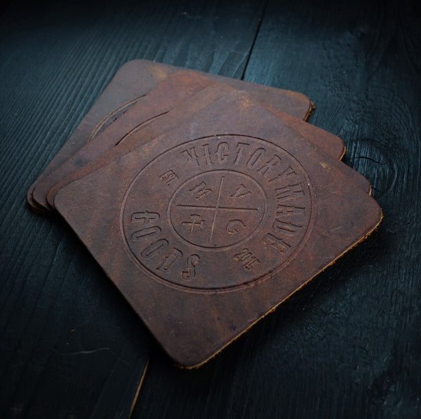 OIL TAN COASTER SET - RUSTIC BROWN