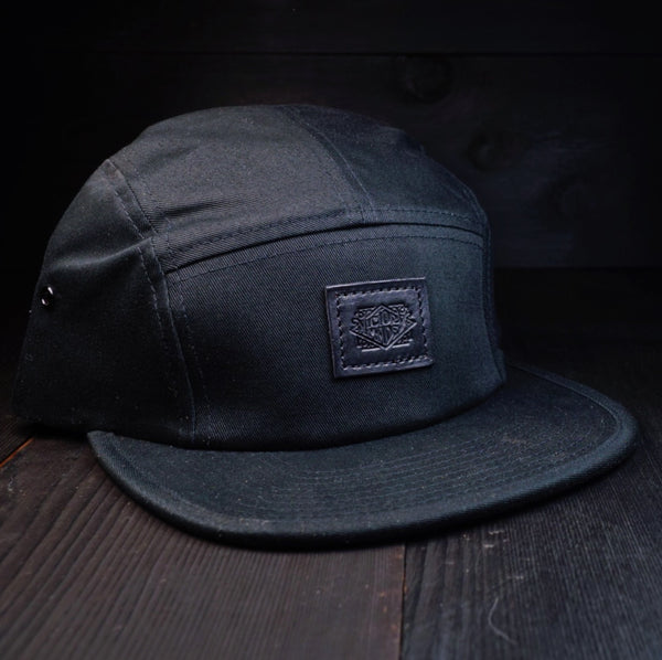 VMG LEATHER PATCHED 5 PANEL - BLACK