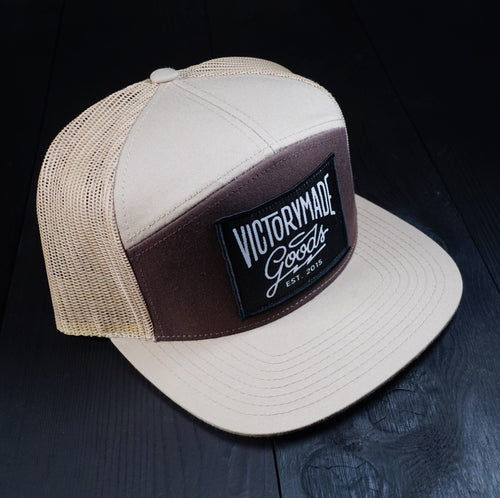PATCHED 7 PANEL TRUCKER SNAPBACK - TAN