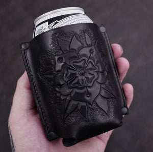 FLORAL LEATHER KOOZIE