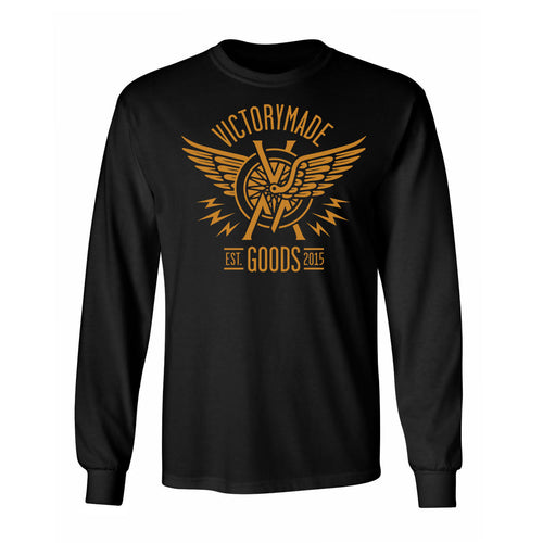 WINGED WHEEL FRONT PRINT LONG SLEEVE - BLACK/GOLD