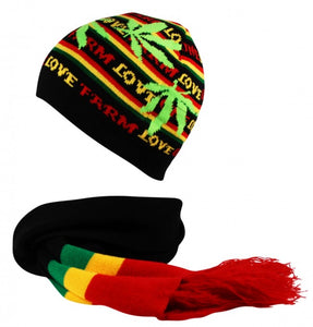 2595bf8cce9e2 Rasta Striped Scarf and Skull Beanie Cap Hat 2 Piece Set Farm Love Leaf