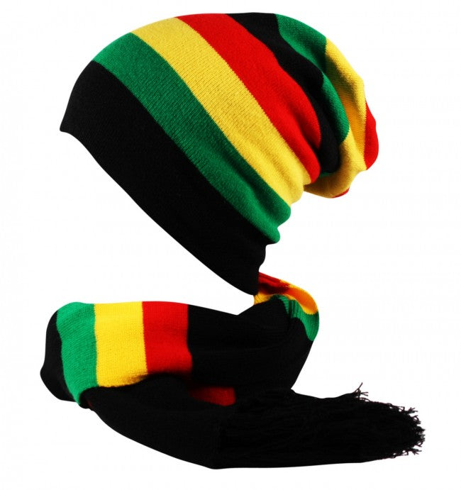Rasta Oversized Slouch Knit Striped Beanie Hat Scarf Set Black Red Yellow  Green ... ed81566a4b8