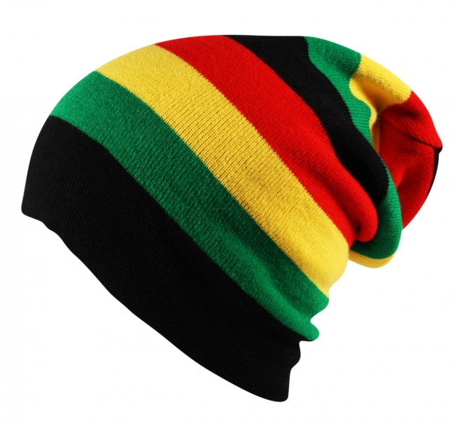 Knit Oversized Slouch Rasta Striped Beanie Cap Hat Black Red Yellow Green  ... b1b7b564a80