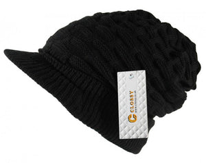 950d6b9da9f Clossy Unisex Cable Knit Peaked Visor Beanie Cap Hat Thick Warm Waffle Black