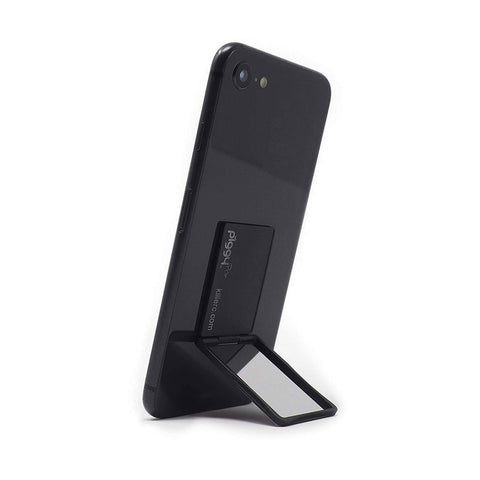 A thin phone stand in black