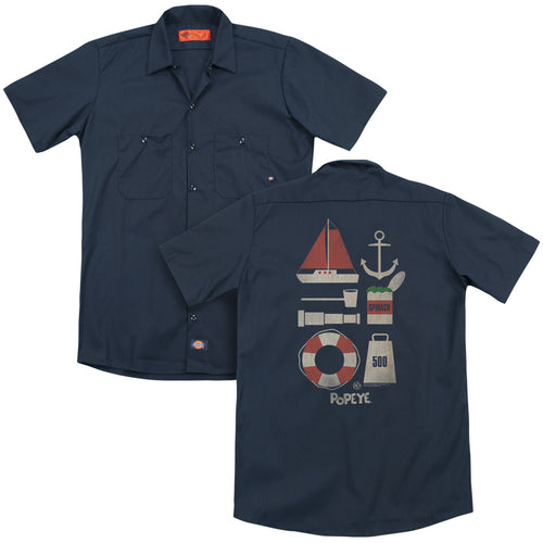 Popeye - Items(Back Print) Adult Work Shirt