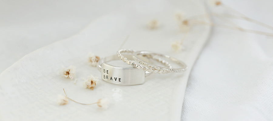 be brave cherished inspiRING with diamond dusted petite stacker and sparkle ring
