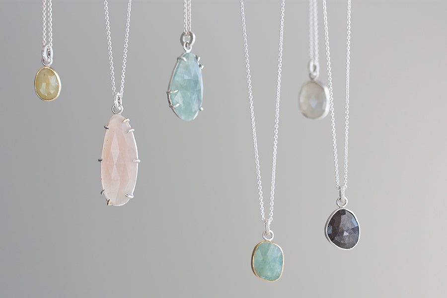faceted collection pendants hanging