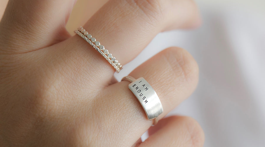 i am enough cherished inspiRING with diamond dusted petite stacker and sparkle ring on model