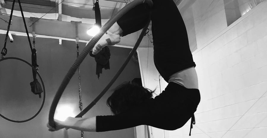 katy upside down in arial hoop