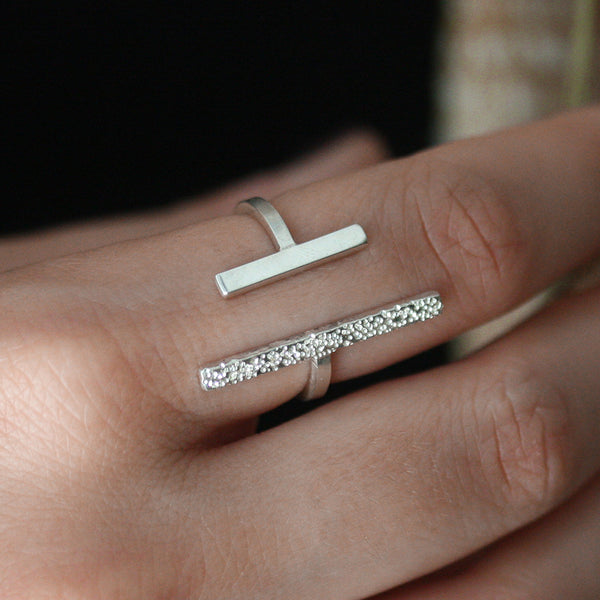 diamond dusted long adjustable ring