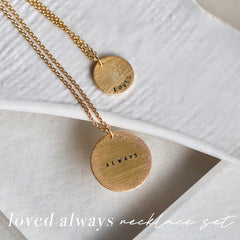 loved always coin necklace set