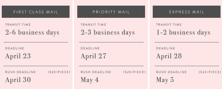 FIRST CLASS MAIL (2-6 business days) Deadline April 23 | Rush Order Deadline April 30 || PRIORITY MAIL (2-3 business days) Deadline April 27 | Rush Order Deadline May 4 || EXPRESS MAIL (1-2 business days) Deadline April 28 | Rush Order Deadline May 5