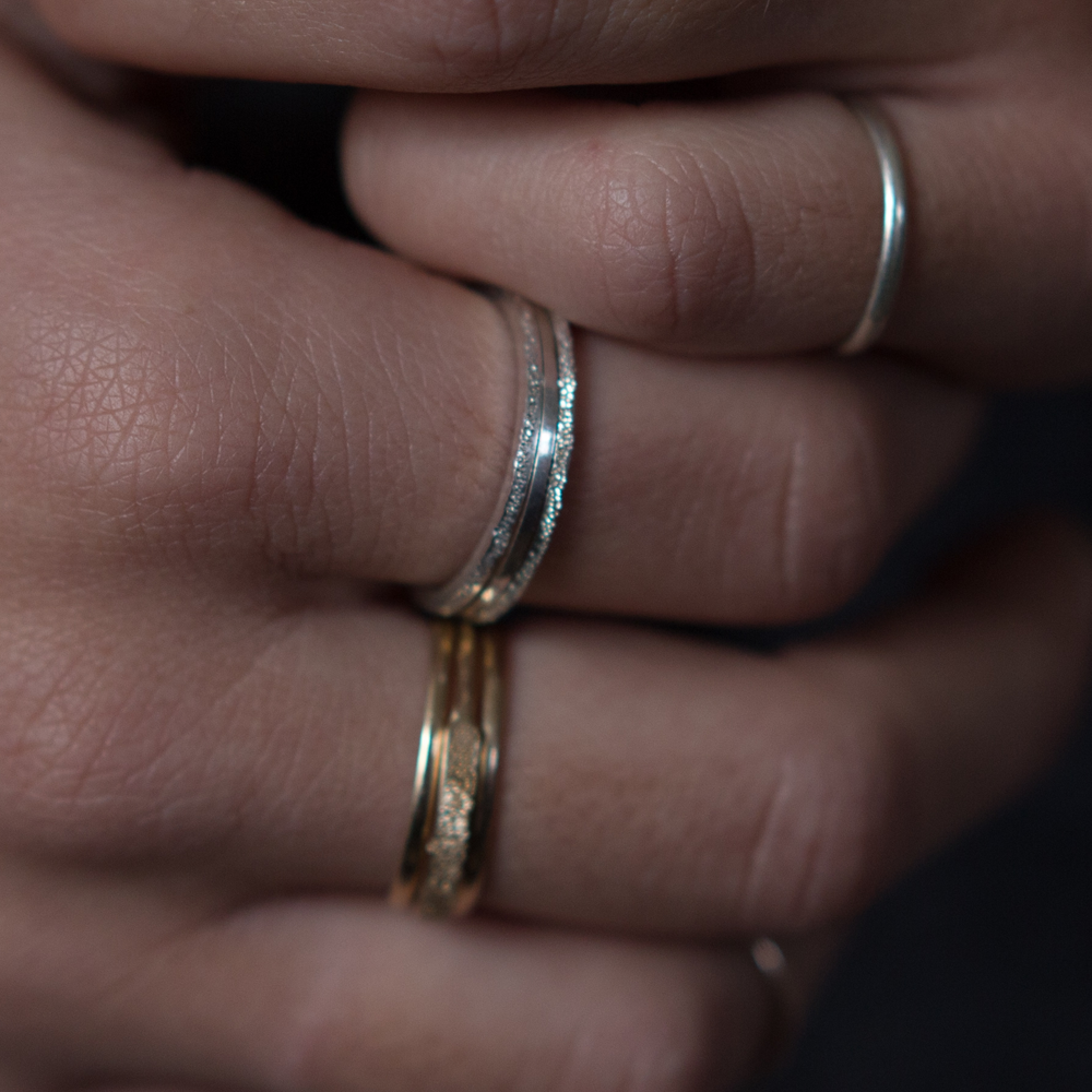 silver and gold diamond dusted stacking rings