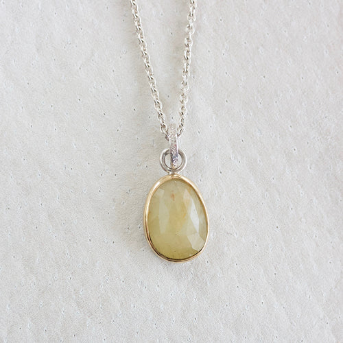 LEMON SAPPHIRE FACETED NECKLACE WITH GOLD BEZEL
