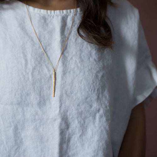 DIAMOND DUSTED LONG BAR NECKLACE