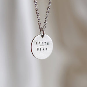 FAITH OVER FEAR MINI COIN NECKLACE