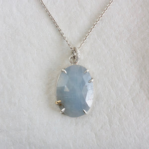 PERIWINKLE SAPPHIRE FACETED NECKLACE WITH GOLD PRONG