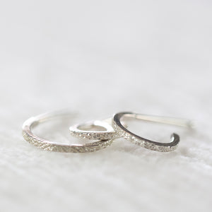 DIAMOND DUSTED HUGGIE HOOPS