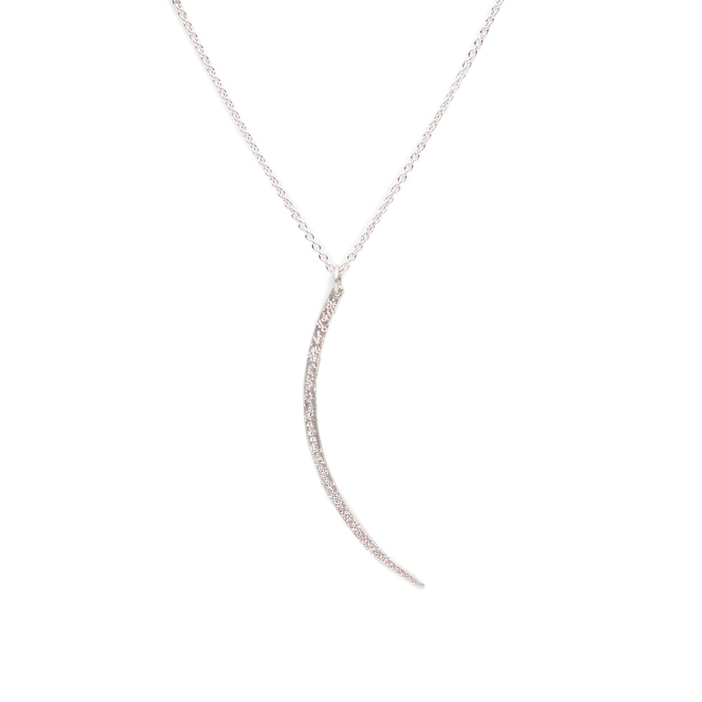 DIAMOND DUSTED LARGE CRESCENT NECKLACE