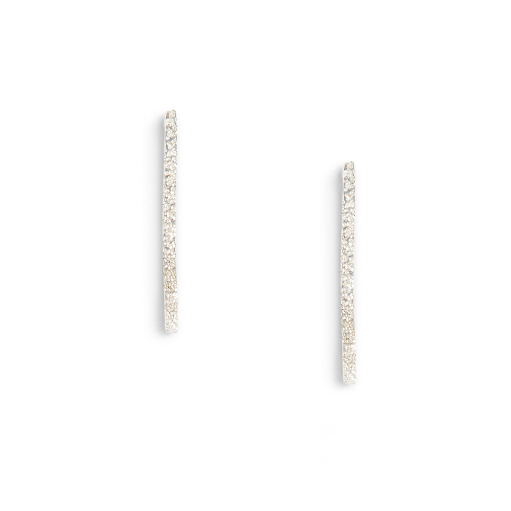 DIAMOND DUSTED MEDIUM COLUMN EARRINGS