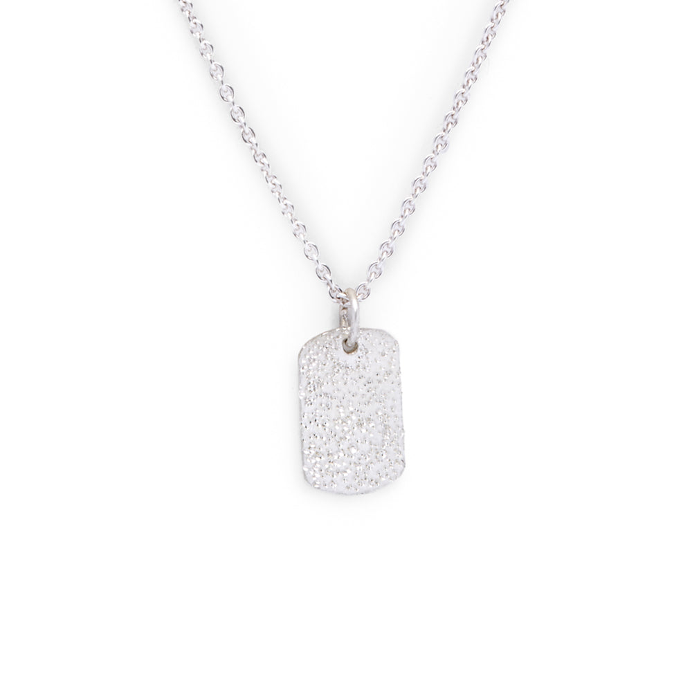 DIAMOND DUSTED MINI TAG NECKLACE