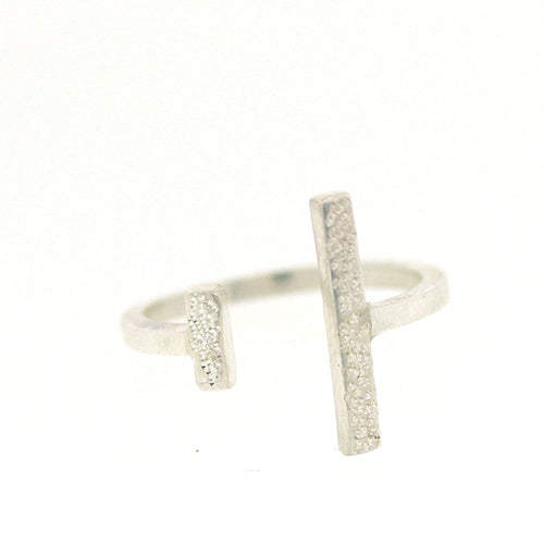 DIAMOND DUSTED DOUBLE ADJUSTABLE RING