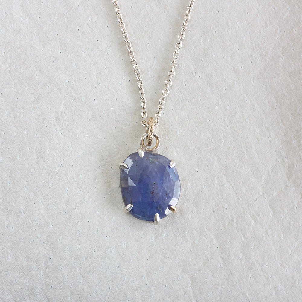 TANZANITE FACETED NECKLACE WITH GOLD ACCENT PRONG