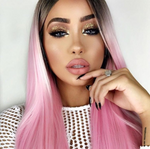 "#1B/Pink 4*4 Lace Front Straight Wigs 16"" 150% Density"