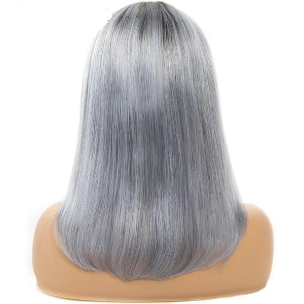 "#1B/ Grey Bob Lace Front Wigs 8""-16"", 130%/150%/180% Density"